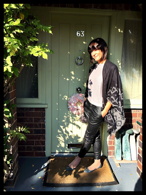 My Midlife Fashion, Shawl, Cape, Leather Trousers, Faux leather, Zara, Pointed Moc Croc Ballet Pumps, Batwing Jumper