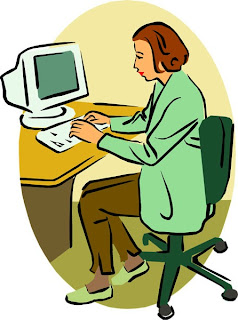 A cartoon of a female teacher on a computer