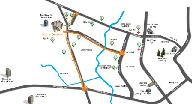 vị trí chung cư athena complex