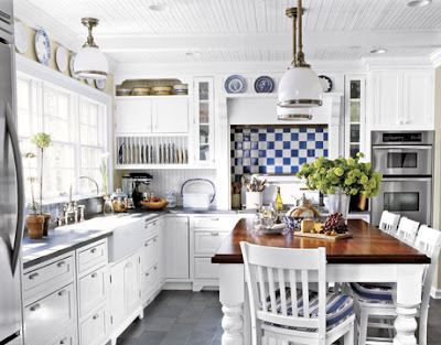mylittlehousedesign.com country chic kitchen with plates above cabinets