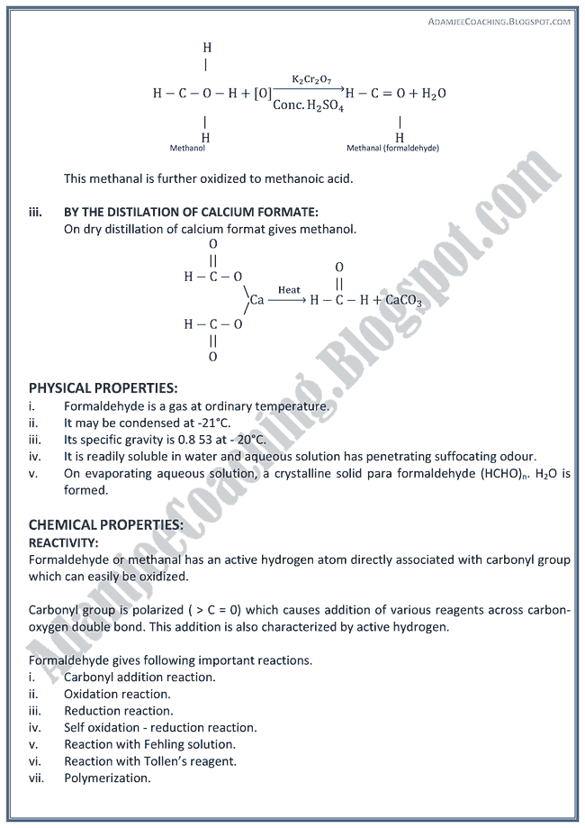 XII Chemistry Notes - Carbon Compounds With Oxygen Containing Functional Group
