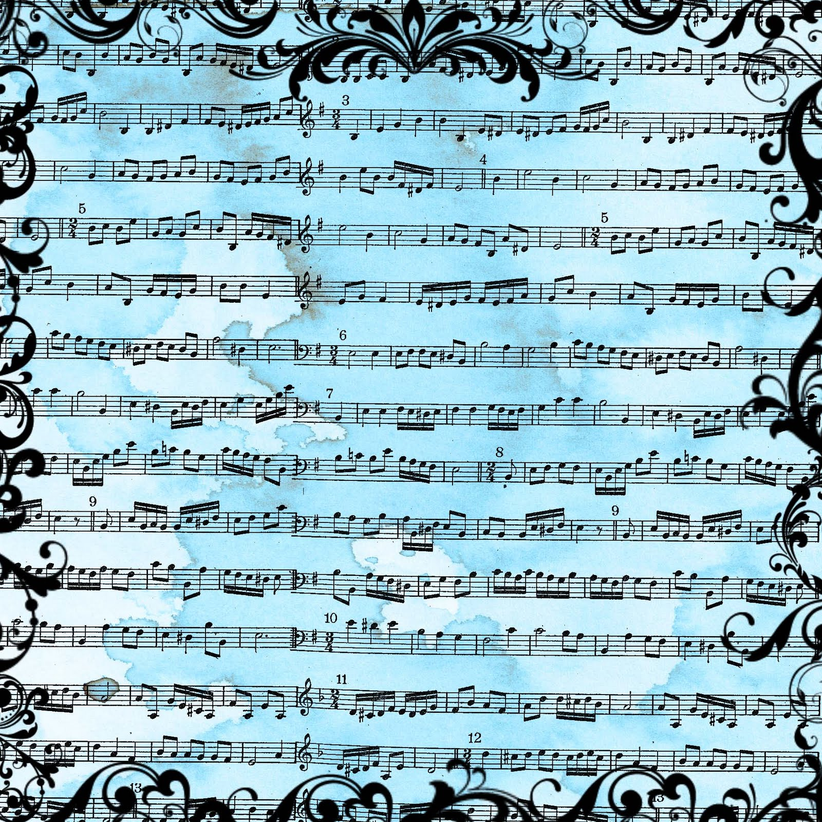 Digital Scrapbook Paper Vintage Sheet Music Free