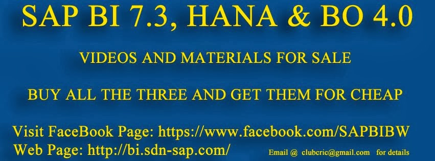 Buy Complete set SAP BI 7.3, HANA and BO 4.0Videos and Materials