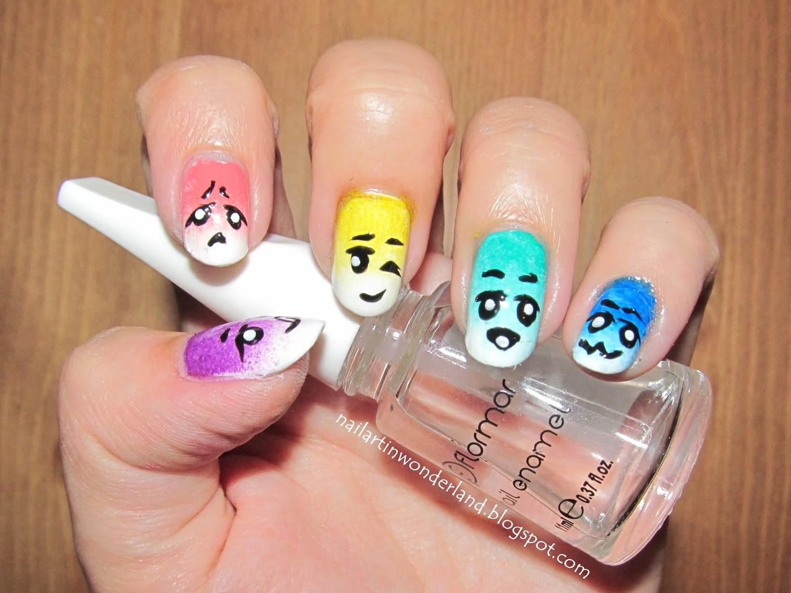 Yüz ifadeleri / Facial expressions nail art: Inspired by Eva Rose Paris Nail Polish