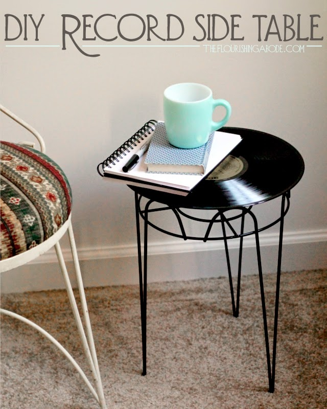 upcycled record, repurposed side table