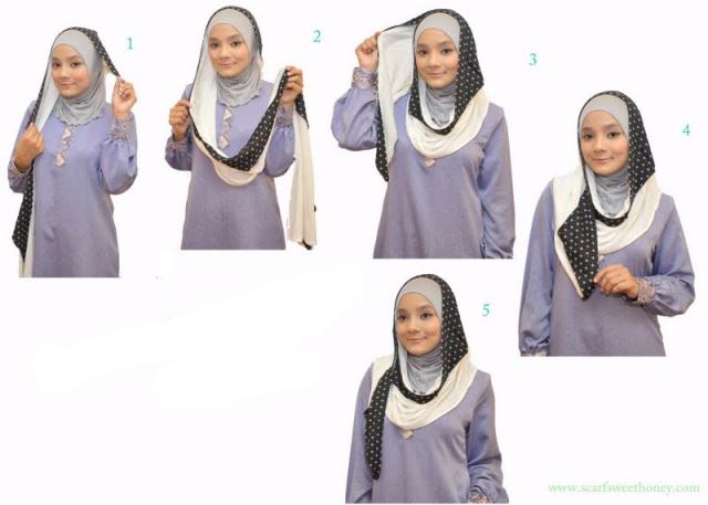 cara memakai jilbab modern model terbaru 2012 disertai gambarnya dan