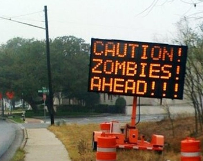 Caution+Zombies+Ahead+Road+Sign preparing for the zombiepocolypse