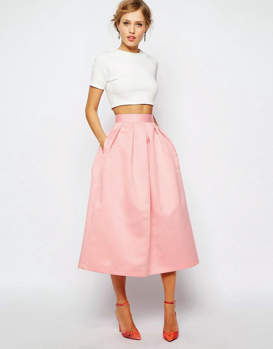 full skirt with pockets, satin skirt with pockets, pink satin midi skirt,