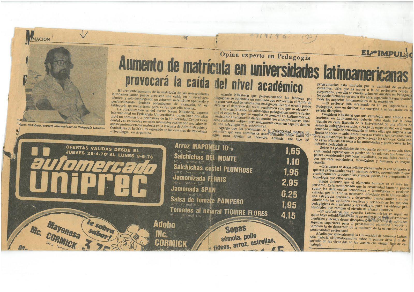 25- PERIODICO EL IMPULSO, VENEZUELA, 29/4/1976.. REPORTAJE A NAUM KLIKSBERG