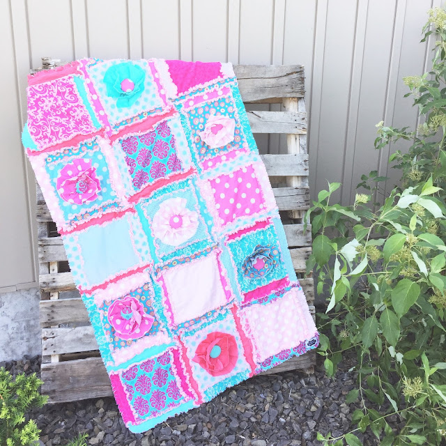 Cute Girly Quilt for an Infant Crib in Pinks and Blues