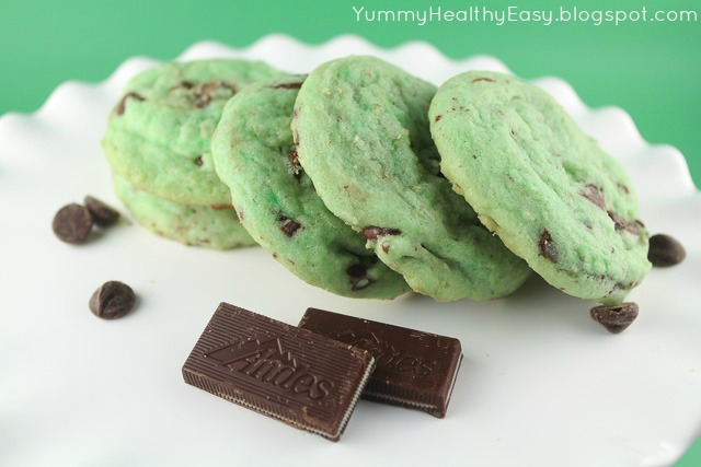 Green Mint Chocolate Chip Cookies - Yummy Healthy Easy