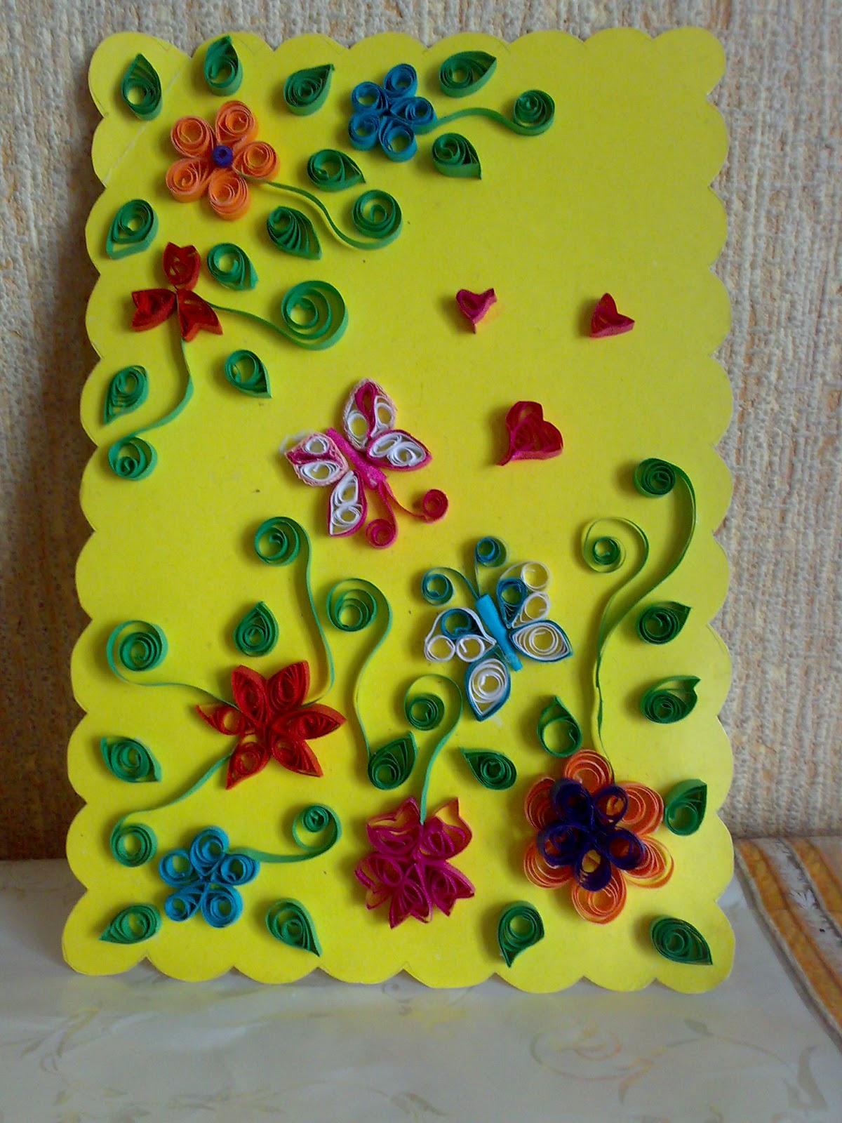 открытка квиллинг Бабочки