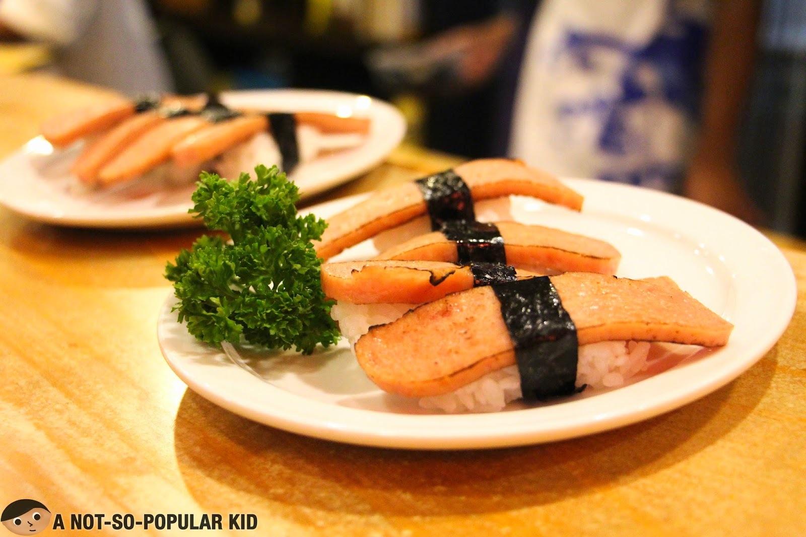 The interesting Spam Sushi - only here in Genji-M
