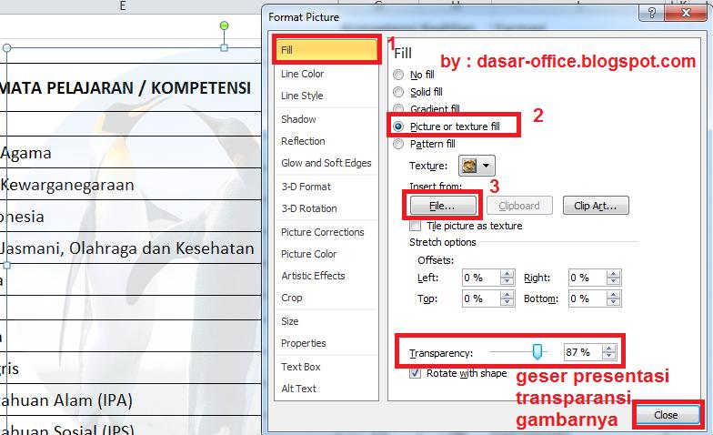 Cara Membuat Gambar Transparan /Watermark di Excel