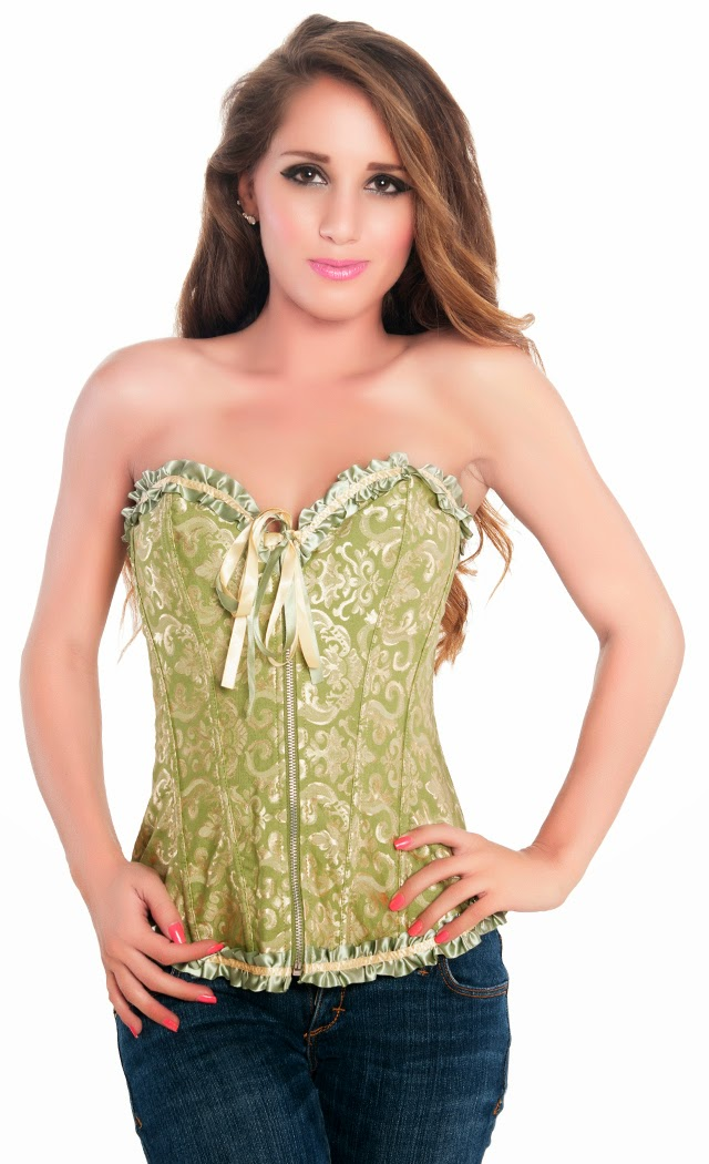 Women's Green Tapestry Embroidered Clubwear Party Corset Top