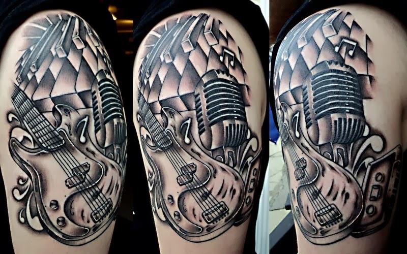 music tattoo designs half sleeve