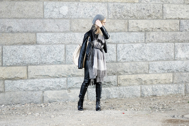 black and grey outfit for autumn 2015
