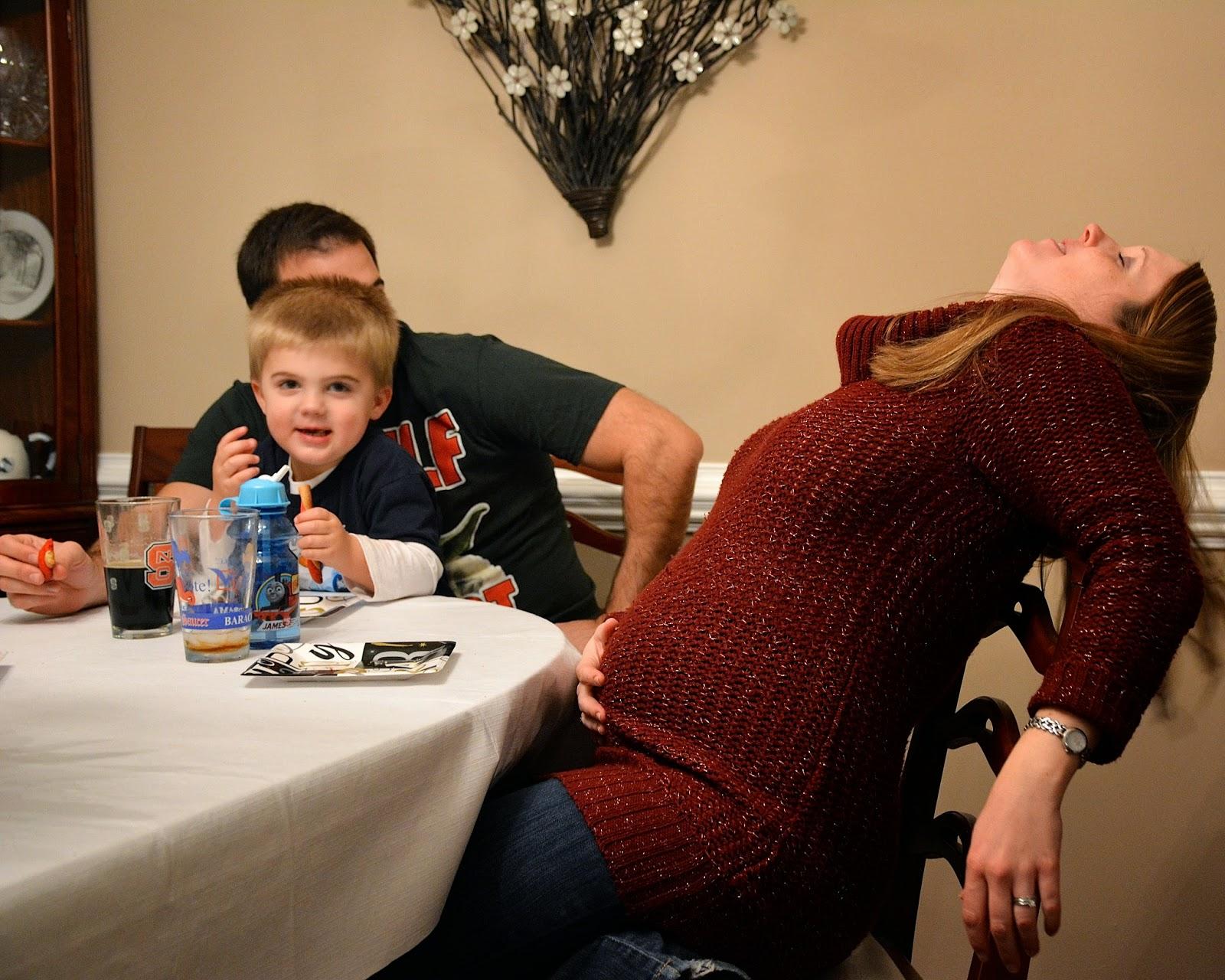 Kristen, Stephen, and Nicholas around the dinner table
