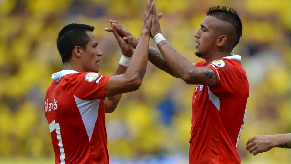 Barcelona's Alexis sanchez celebrating his goal in Chile World Cup 2014