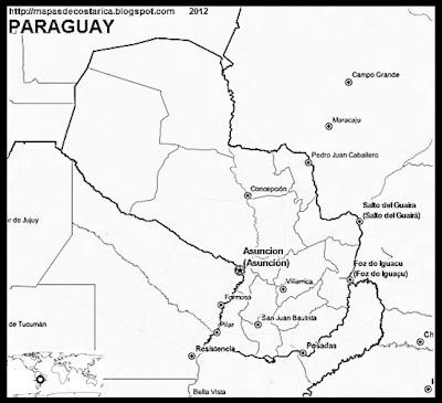 Mapa de PARAGUAY, OpenStreetMap, blanco y negro