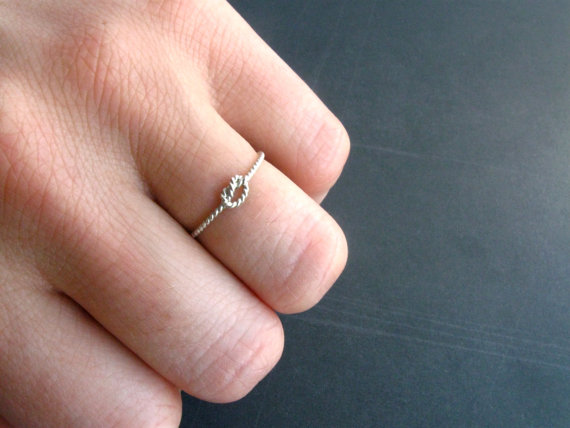 Twisted Rope Love Knot Ring in Sterling Silver