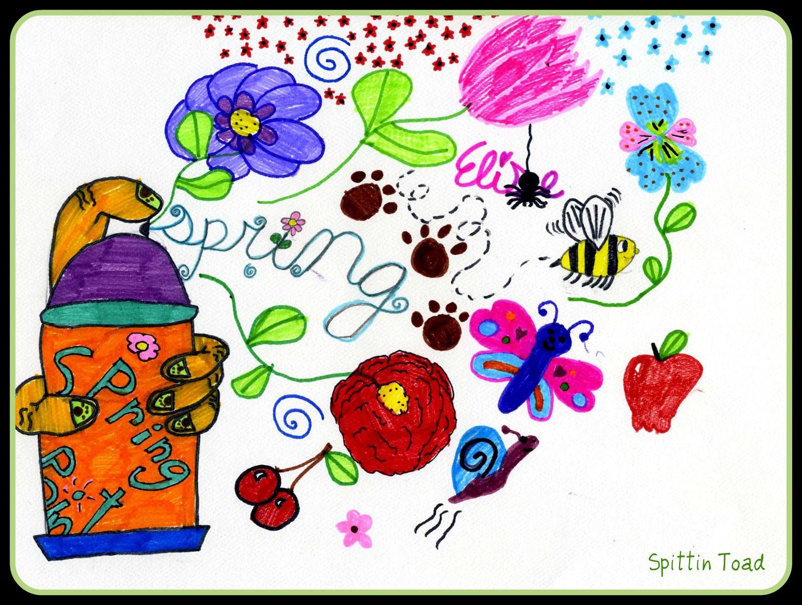 spittin toad kids art spray painting spring. Black Bedroom Furniture Sets. Home Design Ideas