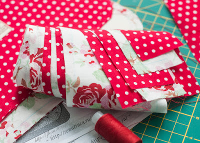 текстиль ткань розы горошек красный белый сумка