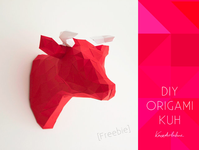 Origami Cow head trophy wall deco