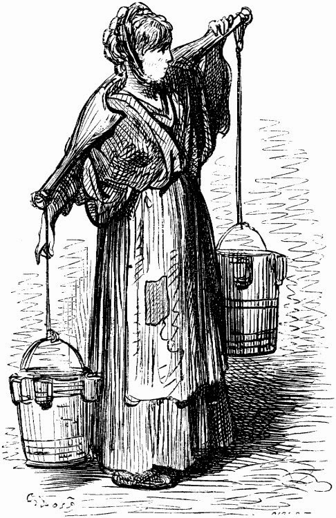 Illustration of poor woman carrying water buckets