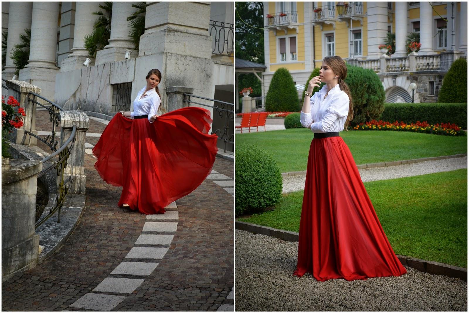 красная юбка в пол образ