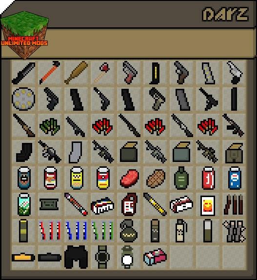 DayZ mod Minecraft objetos