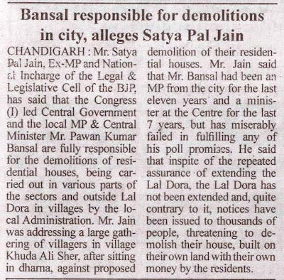 Bansal responsible for demolitions in city, alleges Satya Pal Jain