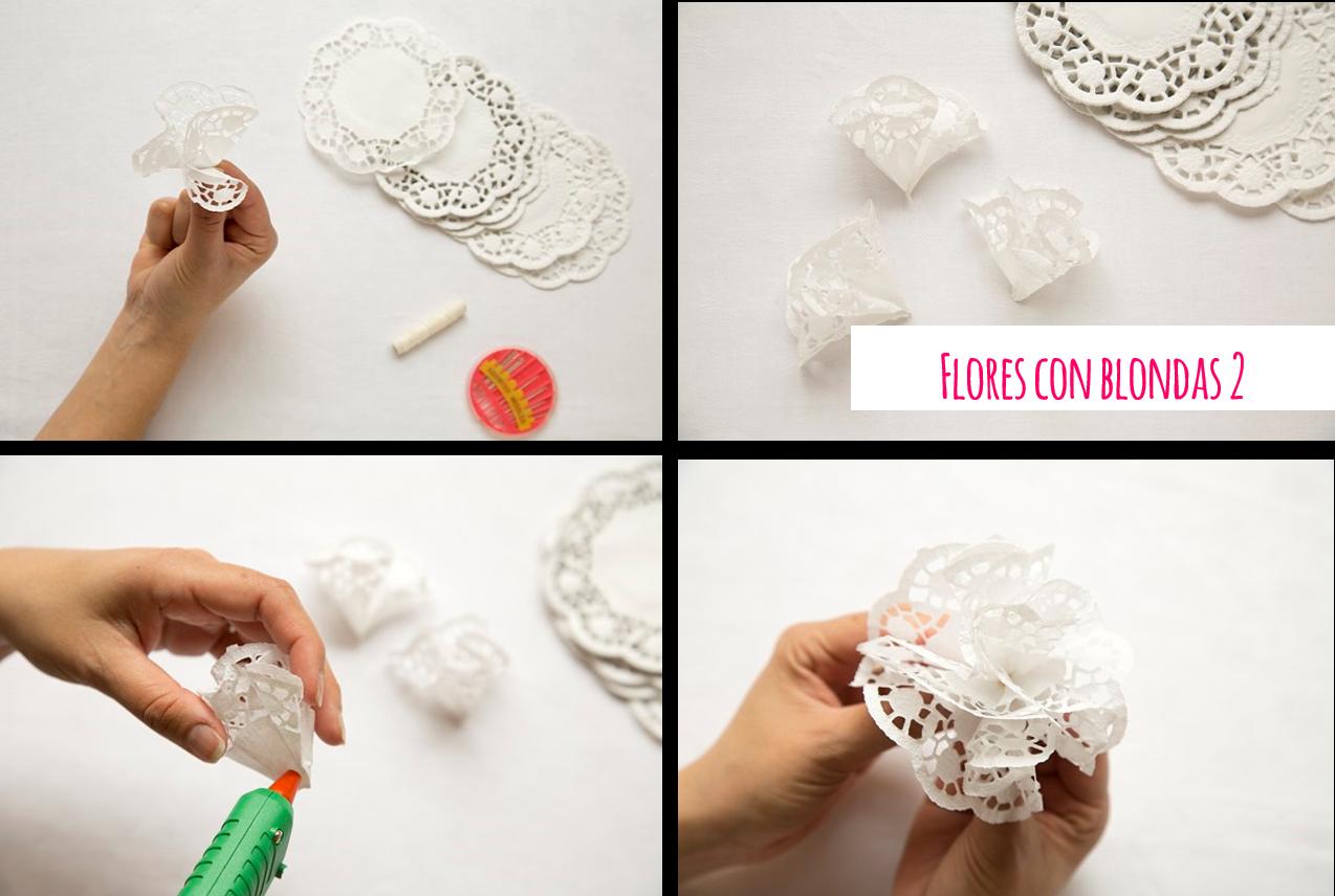 DIY Flores hechas con blondas de papel