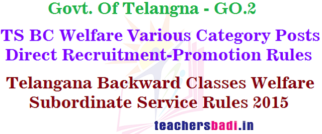 TS BC Welfare,Subordinate Service Rules,Recruitment GO.2