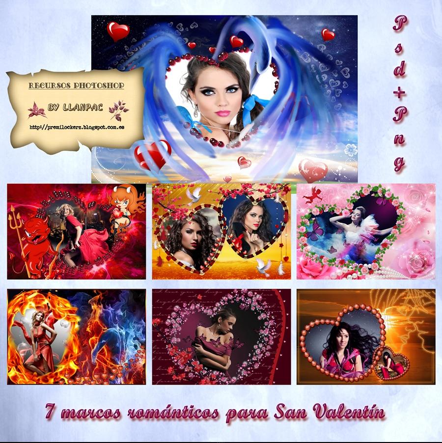 Recursos Photoshop Llanpac: Coleccion de 7 marcos romanticos para ...