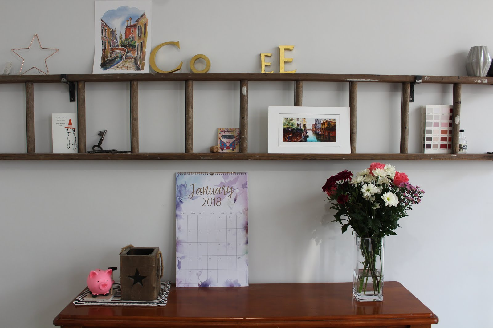 DIY Feature Ladder on Wall Horizontally Kezzabethcouk