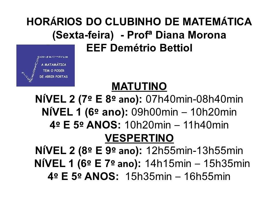 Horário Clubinho Demétrio Bettiol