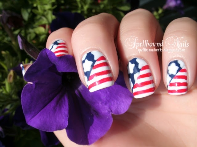 4th of July Memorial Day USA flag United States of America red white blue stars stripes nail art nailart mani manicure Spellbound Nails handpainted hand painted freehand