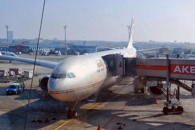 Etihad Airbus A330 at Istanbul Ataturk airport