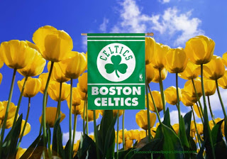 Boston Celtics Flag, Desktop Wallpapers Boston Celtics Flag Logo in Tulips Flowers Field