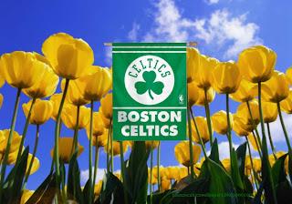 Boston Celtics Flag, Desktop Wallpapers Boston Celtics Flag Logo in Tulips Flowers Field
