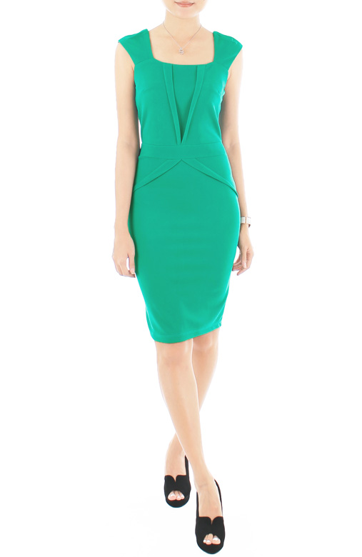 Sleek Chic Pencil Dress - Paris Green