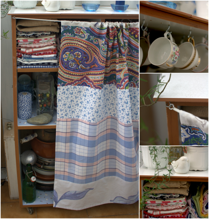 Mueble de cocina reciclado diogeneras el nido de mam for Muebles de cocina con cortinas