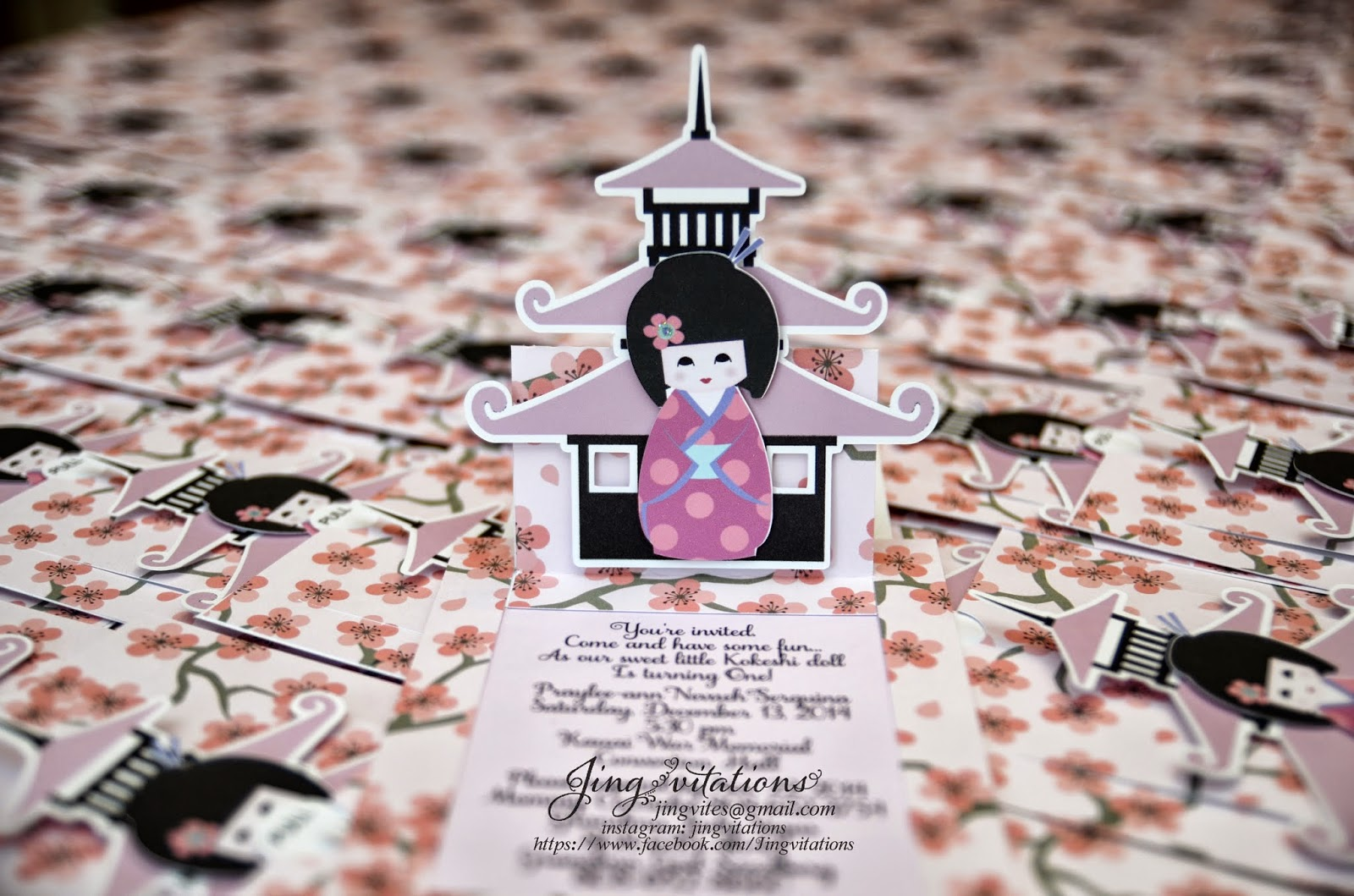 kokeshi, japanese_doll cherry_blossom invitations