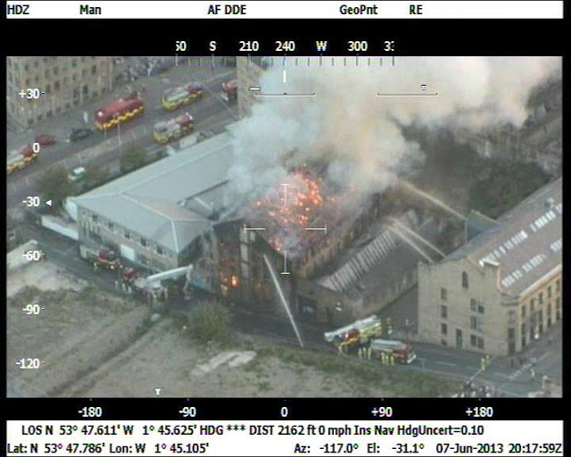 Aerial shot, Bradford mill fire, Thornton Road, Large Fire