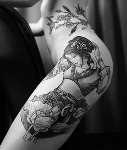 Geisha Thigh Tattoo