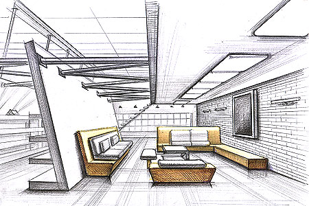 Interior design sketches inspiration with simple ideas for Interior designs sketches