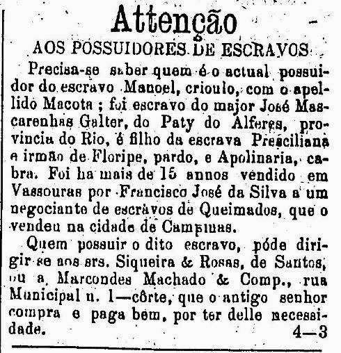 Anúncio de resgate de escravos publicado nos classificados do jornal 'O Estado de São Paulo' em 1876.
