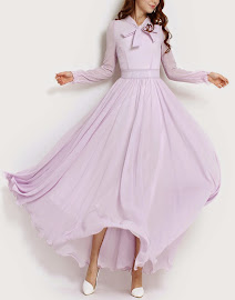 Soft Purple Front Ribbon Long Sleeve Chiffon Maxi