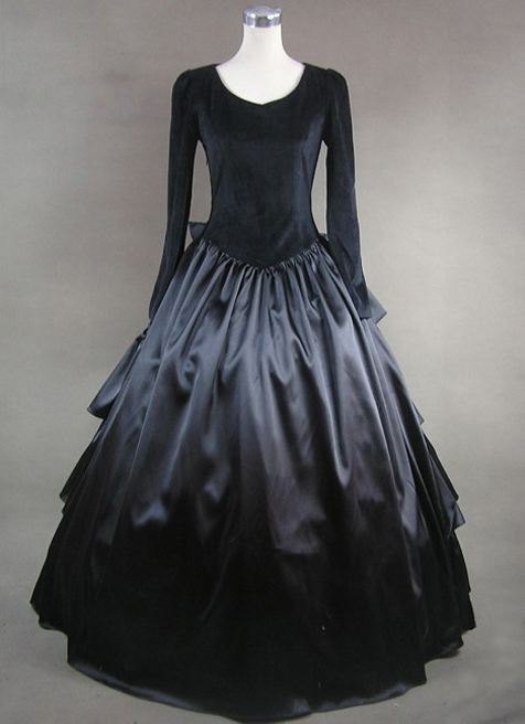Vintage Black Long Sleeves Gothic Victorian Dress
